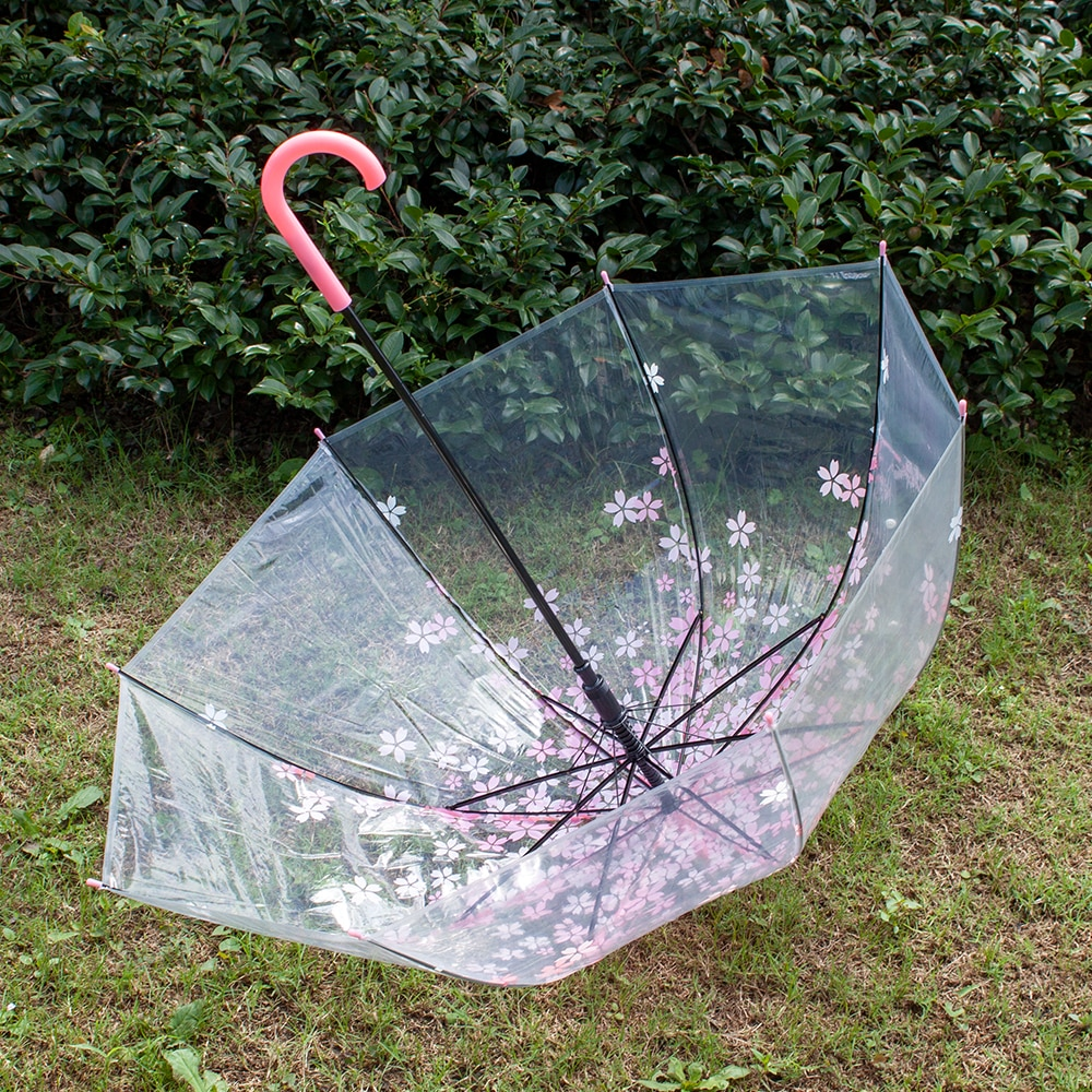 Payung Transparant Sakura Flower Umbrella 80 cm - F000095 - Pink - 5 .