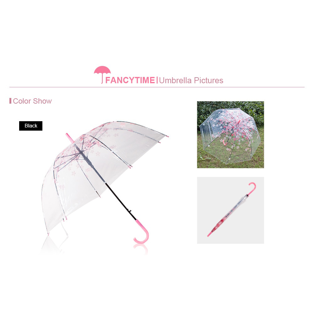 Payung Transparant Sakura Flower Umbrella 80 cm - F000095 - Pink - 8 .