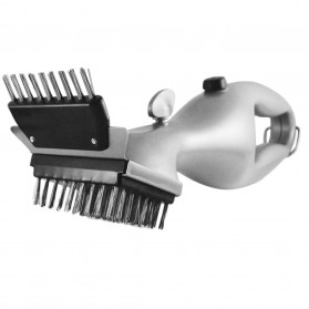 Alat Pembersih Tungku Stainless Steel BBQ Brush Grill Cleaner - ZK4010 - Silver