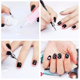 Kuas Kutek Kuku Nail Art Tool 2 Ways Swirl Marbleizing Dotting Pen 5 PCS - X-19 - Multi-Color - 4