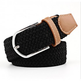 ZLD Tali Ikat Pinggang Wanita Bahan Canvas Casual Knitted Buckle - Z0074 - Black