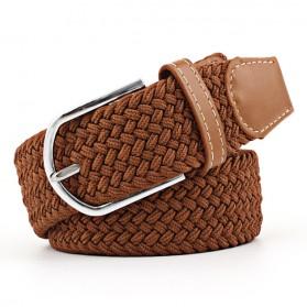 ZLD Tali Ikat Pinggang Wanita Bahan Canvas Casual Knitted Buckle - Z0074 - Brown