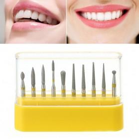 Xceldent Mata Bor Diamond Burs untuk Poles Gigi Kuku Serbaguna 10 PCS - Yellow