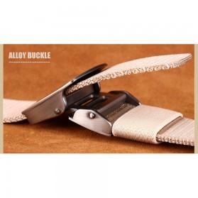 Miluota Tali Ikat Pinggang Pria Canvas Stylish Metal Buckle Belt - MU071 - Black - 4