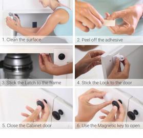 KOOLBOY Kunci Laci Lemari Magnetic Safety Kids Drawer 10 Lock 2 Key - LK-002-KB - White - 6