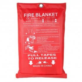 KKMOON Kain Pemadam Api Fiberglass Fire Blanket Flame Shelter Cover Emergency - 1869 - Red - 1