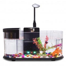 EECOO USB Desktop Aquarium Mini Fish Tank with Running Water - Lileng-921 - Black
