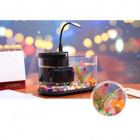EECOO USB Desktop Aquarium Mini Fish Tank with Running Water - Lileng-921 - Black - 2