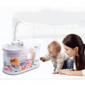 EECOO USB Desktop Aquarium Mini Fish Tank with Running Water - Lileng-921 - Black - 8