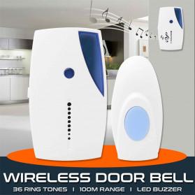 ISHOWTIENDA Bell Pintu Wireless Doorbell Waterproof 36 Tunes 1 Receiver - A118 - White - 5