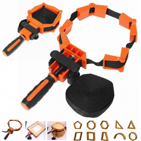ACAMPTAR Alat Penjepit Bingkai Kayu Adjustable Rapid Corner Clamp Strap Band 4 Jaws - ACM25 - Orange
