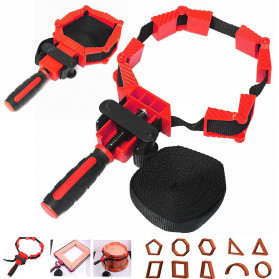 ACAMPTAR Alat Penjepit Bingkai Kayu Adjustable Rapid Corner Clamp Strap Band 4 Jaws - ACM25 - Red