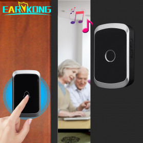 EARKONG Bell Pintu Wireless Doorbell LED 36 Tunes 1 Receiver - A10 - Black - 2