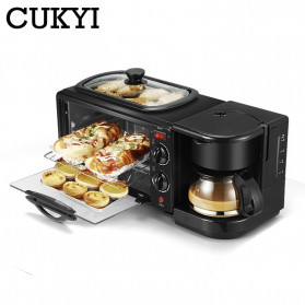 CUKYI Breakfast Machine 3 in 1 Toaster Oven Mesin Kopi Grill Pan 640+450W - FFF1601 - Black