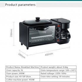 CUKYI Breakfast Machine 3 in 1 Toaster Oven Mesin Kopi Grill Pan 640+450W - FFF1601 - Black - 8