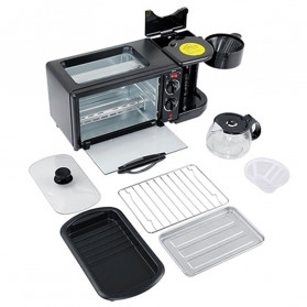 CUKYI Breakfast Machine 3 in 1 Toaster Oven Mesin Kopi Grill Pan 640+450W - FFF1601 - Black - 9