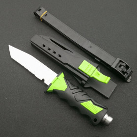 ToughKeng Pisau Titanium Stainless Steel Professional Scuba Diving Sheath Square Head -TK4C - Green