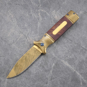 Chongming Pisau Lipat Outdoor Portable Knife Survival Tool - CM73 - Yellow - 4
