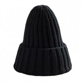 ROPALIA Topi Kupluk Rajut Beanie Wool Blends  HIP HOP Unisex - MZ238 - Black