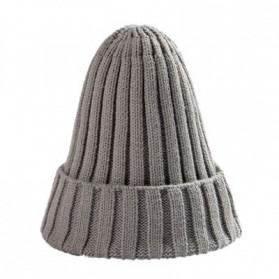 ROPALIA Topi Kupluk Rajut Beanie Wool Blends  HIP HOP Unisex - MZ238 - Gray