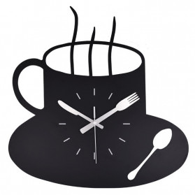 Dekorasi Rumah - Ainivia Jam Dinding Quartz Creative Design Model Coffe Clock - MM60WC - Black