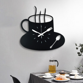 Ainivia Jam Dinding Quartz Creative Design Model Coffe Clock - MM60WC - Black - 3