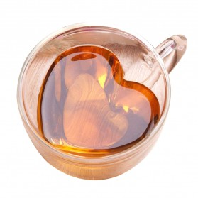 One Two Cups Gelas Cangkir Kopi Anti Panas Double-Wall Glass Love Series 240ml - Transparent