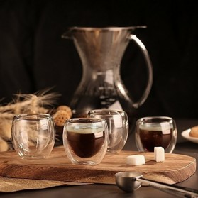 One Two Cups Gelas Cangkir Kopi Anti Panas Double-Wall Glass Love Series 240ml - Transparent - 6