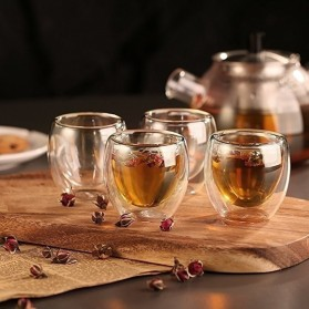 One Two Cups Gelas Cangkir Kopi Anti Panas Double-Wall Glass Love Series 240ml - Transparent - 7