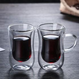 Creative Gelas Cangkir Kopi Anti Panas Double-Wall Glass European Series 80ml with Handle - Transparent - 2