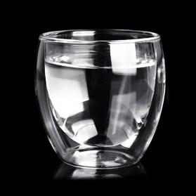 Creative Gelas Cangkir Kopi Anti Panas Double-Wall Glass European Series 80ml with Handle - Transparent - 5