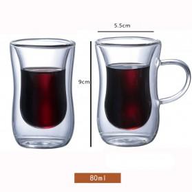 Creative Gelas Cangkir Kopi Anti Panas Double-Wall Glass European Series 80ml with Handle - Transparent - 10