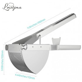 LMETJMA Alat Peras Jeruk Kentang Wortel Potato Ricer Masher Pressure Stainless Steel - KC0154 - Silver - 4