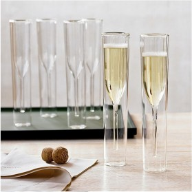 LOULONG Gelas Cangkir Double Layer Glass Model Champagne 115ml - CD1002 - Transparent