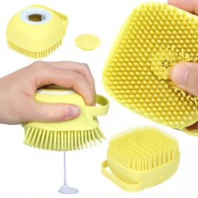 BWOHOPS Sikat Mandi Badan Bath Brush Soft Silicone with Soap Container 80ml - LDS17 - Yellow