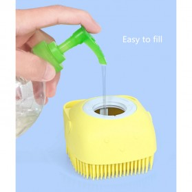 BWOHOPS Sikat Mandi Badan Bath Brush Soft Silicone with Soap Container 80ml - LDS17 - Yellow - 6
