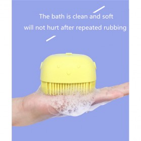BWOHOPS Sikat Mandi Badan Bath Brush Soft Silicone with Soap Container 80ml - LDS17 - Yellow - 9