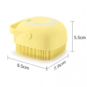 BWOHOPS Sikat Mandi Badan Bath Brush Soft Silicone with Soap Container 80ml - LDS17 - Yellow - 10