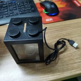 TOPINCN Aquarium Mini Lego Block 2 Side Windows 8x8x11cm with USB Light - TOP3 - Black - 2