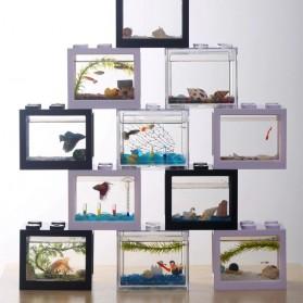 TOPINCN Aquarium Mini Lego Block 2 Side Windows 8x8x11cm with USB Light - TOP3 - Black - 7