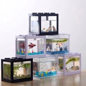 TOPINCN Aquarium Mini Lego Block 2 Side Windows 8x8x11cm with USB Light - TOP3 - Black - 8