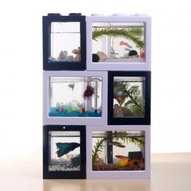 TOPINCN Aquarium Mini Lego Block 2 Side Windows 8x8x11cm with USB Light - TOP3 - Black - 9