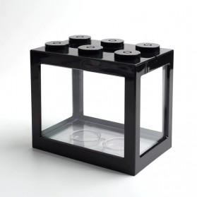 TOPINCN Aquarium Mini Lego Block 4 Side Windows 12.8x8.5x11cm - TOP3 - Black