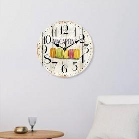 GOHAND Jam Dinding Bulat Quartz Creative Design Model Eropa Shabby Chic Rustic Vintage 30CM - D13292 - Multi-Color - 2