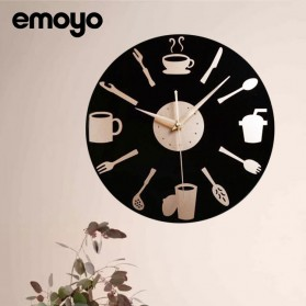 EMOYO Jam Dinding Bulat Quartz Creative Modern Design Model Kitchen Stuff 30CM - D132 - Black