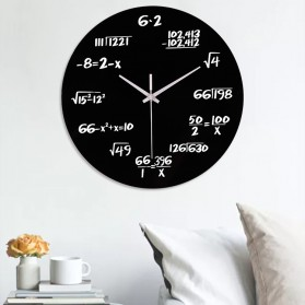 Dekorasi Rumah - 3DLM Jam Dinding Bulat Quartz Creative Modern Design Model Math Equation 30CM - C001 - Black