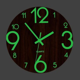 LUMINOVA Jam Dinding Bulat Quartz Creative Design Luminous Glow in The Dark 30CM - MDB3 - Wooden