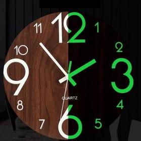 LUMINOVA Jam Dinding Bulat Quartz Creative Design Luminous Glow in The Dark 30CM - MDB3 - Wooden - 3