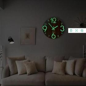 LUMINOVA Jam Dinding Bulat Quartz Creative Design Luminous Glow in The Dark 30CM - MDB3 - Wooden - 5