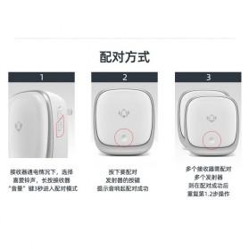 EARKONG Bell Pintu Wireless Doorbell LED 38 Tunes 1 Receiver -  B111 - White - 11
